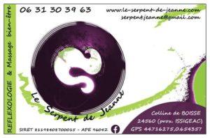 carte de visite Serpent de Jeanne