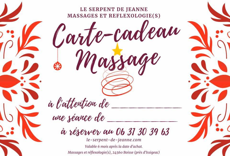 offrez un massage avec la carte-cadeau du Serpent de Jeanne, massages et réflexologie(s) au sud de la Dordogne près de Bergerac
